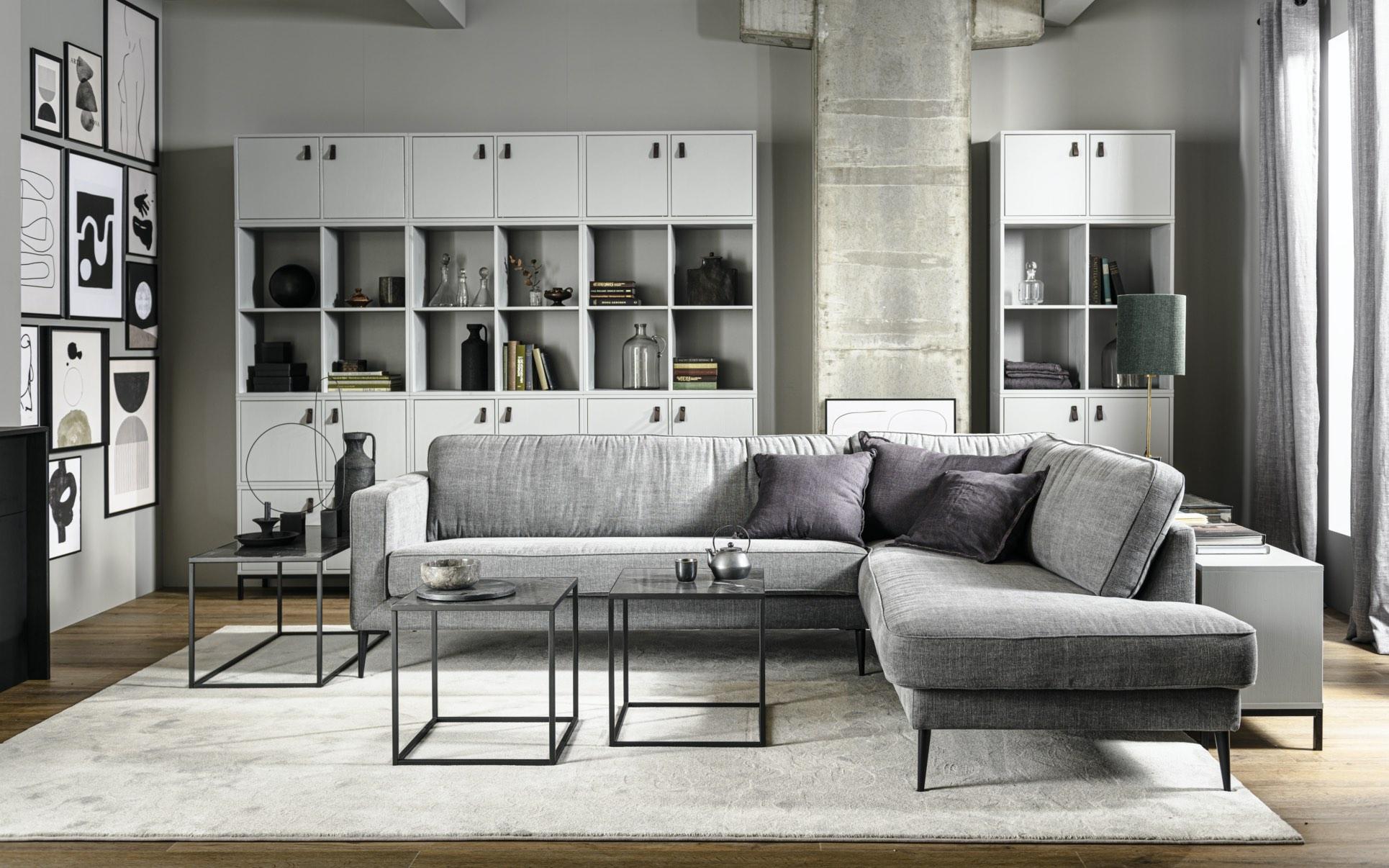 375127-SLA-373824-Z-373825-Z-375787-BET-375786-BET-375107-BET-01 SF VT Crew corner sofa Side bijzettafel M en L zwart met zwart marmeren blad Lower case