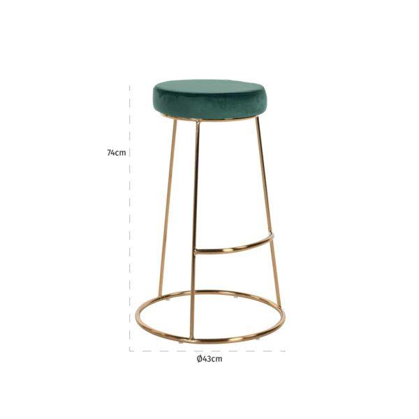 S4478 GREEN VELVET - Barstoel Brandy Green Velvet / goud (ZZZ-Quartz Green 501)