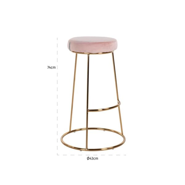 S4478 PINK VELVET - Barstoel Brandy Pink Velvet / goud (ZZZ-Quartz Pink 700)