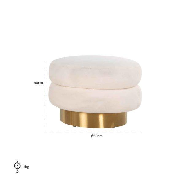 S4529 WHITE - Poef Faya White Teddy / Brushed gold (White)