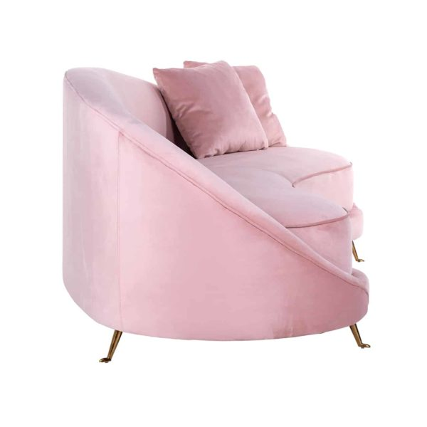 S5122 PINK VELVET - Bank Bourbon met 2 kussens Pink Velvet / gold (ZZZ-Quartz Pink 700)